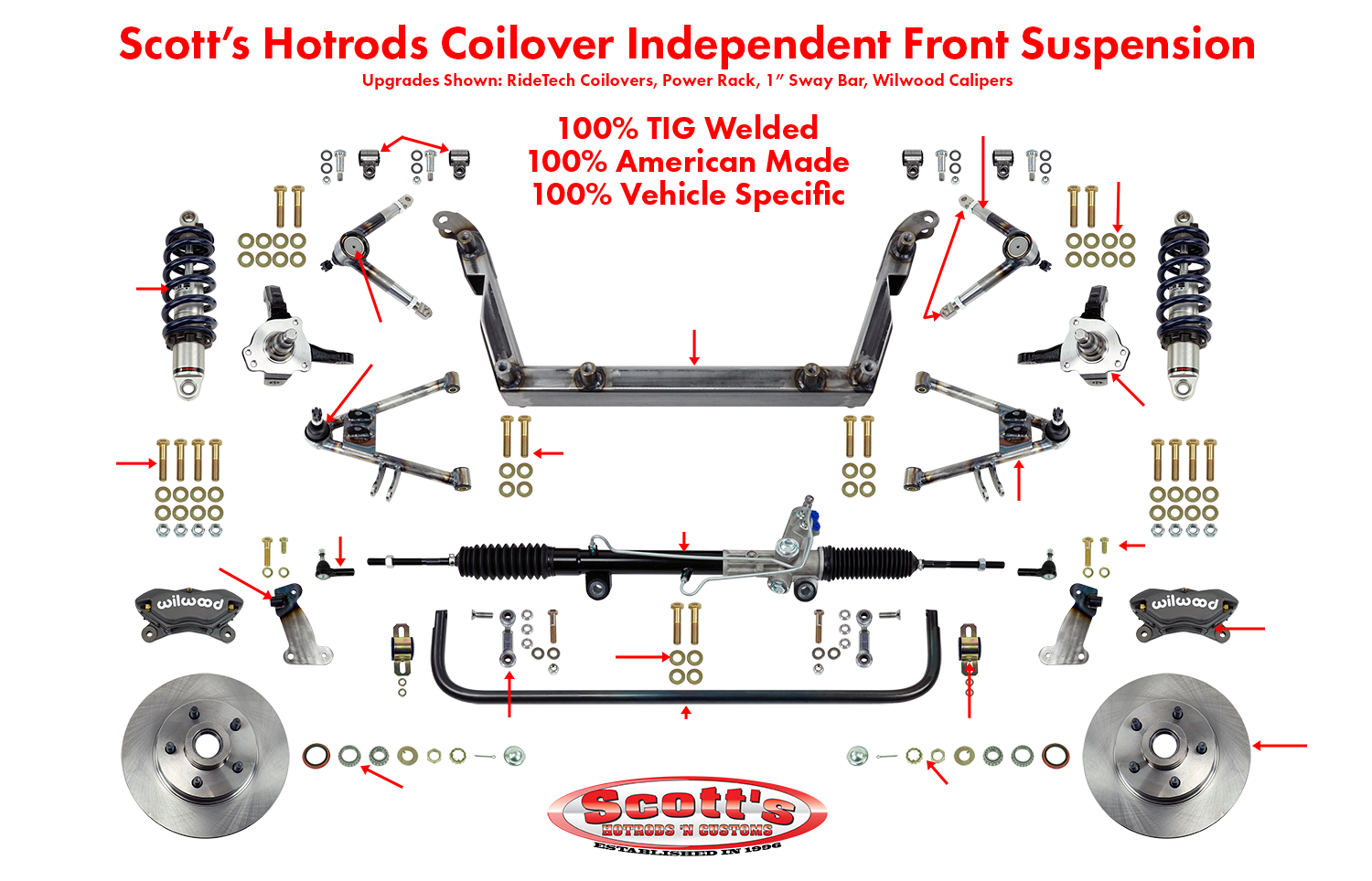 Scott's Hotrods Coilover Independent Front Suspension Kit Labels